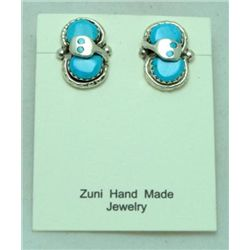 Zuni Turquoise Small Snake Earrings - Effie Calavaza