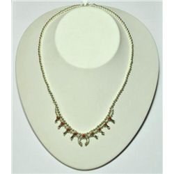 Navajo Coral Mini Squash Blossom Necklace