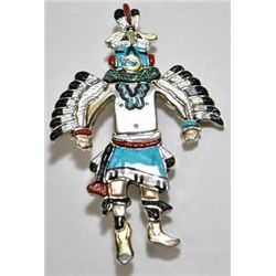 Zuni Multi-Stone Eagle Dancer Sterling Silver Pendant & Pin - Andrea Shirley