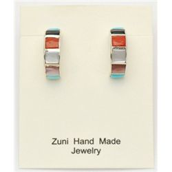 Zuni Multi-Stone Half-Ring Earrings