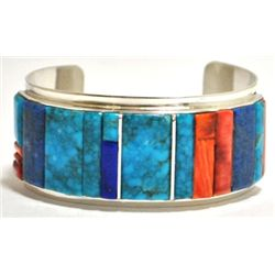 Navajo Multi-Stone Sterling Silver Cuff Bracelet - H. Smith
