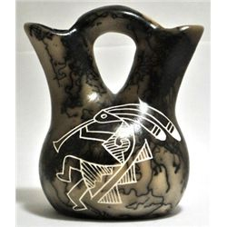 Acoma Pueblo Bear & Kokopelli Etched Horsehair Pottery - Gary Yellow Corn Louis