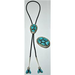 Zuni Sleeping Beauty Turquoise Sterling Silver Bolo & Buckle Set - Robert & Bernice Leekya