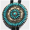Zuni Turquoise Cluster Sterling Silver Bolo Tie