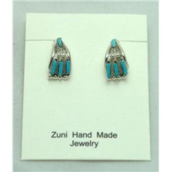 Zuni Turquoise Horn-Shaped Earrings