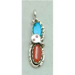 Zuni Coral and Turquoise Tall Figure 8 Snake Pendant - Effie Calavaza