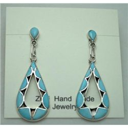 Zuni Turquoise Teardrop Earrings