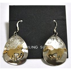 Navajo 12k Gold Filled Horse Sterling Silver French Hook Earrings - Roger Jones