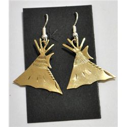 Navajo Pressed Teepee Brass Earrings