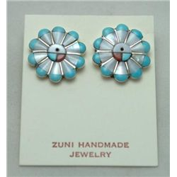 Zuni Multi-Stone Sun Design Earrings