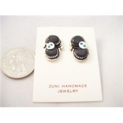 Zuni Onyx and Turquoise Small Snake Earrings - Effie Calavaza