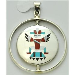 Zuni Multi-Stone Spinner Knifewing Kachina and Sun Design Pendant - Fred & Lolita Natachu