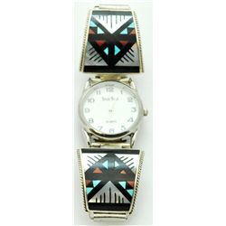 Zuni Multi-Stone White Tone Men's Watch - Leander & Lisa Otholi
