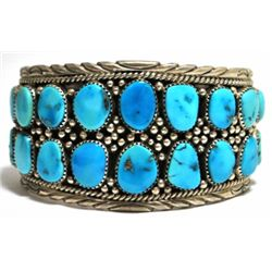 Old Pawn Turquoise Cluster Sterling Silver Cuff Bracelet - MN