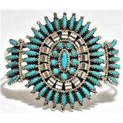Old Pawn Zuni Turquoise Needlepoint Sterling Silver Cuff Bracelet - N & R Nez