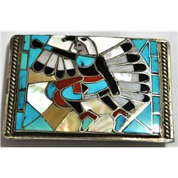 Old Pawn Multi-Stone Knifewing Kachina Sterling Silver Buckle - Lincoln & Helen Zunie