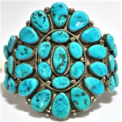 Old Pawn Turquoise Needlepoint Sterling Silver Cuff Bracelet - Roanhorse