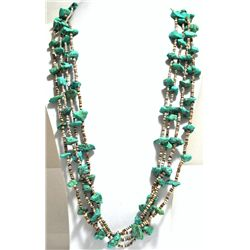 Old Pawn 4-Strand Turquoise & Heishi Shell Necklace