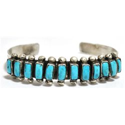 Old Pawn Turquoise Petit Point Sterling Silver Cuff Bracelet