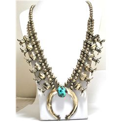 Old Pawn Turquoise Sterling Silver Heavy Squash Blossom Necklace