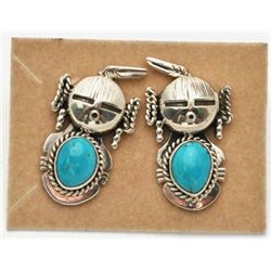 Old Pawn Turquoise Mud Head Earrings