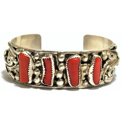 Old Pawn Coral Sterling Silver Cuff Bracelet