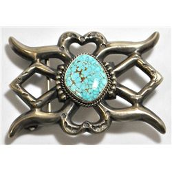 Old Pawn Navajo Spider Web #8 Turquoise Sterling Silver Buckle - Harrison Bitsue