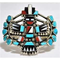 Old Pawn Multi-Stone Rainbow Dancer Kachina Sterling Silver Cuff Bracelet - Mike Platero