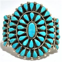 Old Pawn Turquoise Petit Point Cluster Sterling Silver Cuff Bracelet - JB