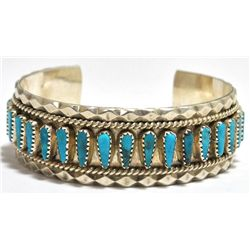 Old Pawn Navajo Turquoise Needlepoint Sterling Silver Cuff Bracelet - Tommy Lowe