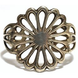 Old Pawn Sterling Silver Flower Cuff Bracelet