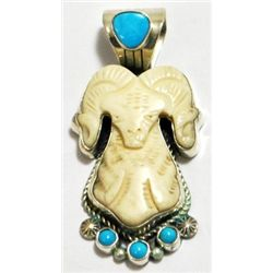 Old Pawn Turquoise & Stone Sterling Silver Ram Pendant - Running Bear