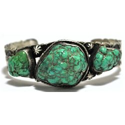 Old Pawn Navajo Rare Rough Old Turquoise Sterling Silver Cuff Bracelet - L James