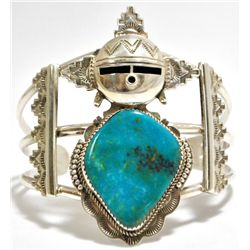 Old Pawn Navajo Rare Morenci Turquoise Sterling Silver Mud Head Cuff Bracelet - Nelson Morgan