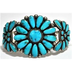 Old Pawn Turquoise Needlepoint Sterling Silver Cuff Bracelet - Julie O. Lahi