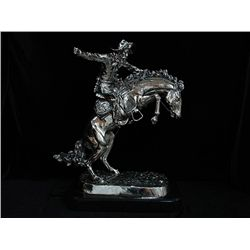 Large Fine Sculpture Frederic Remington Real .999 Silver - Bronco Buster