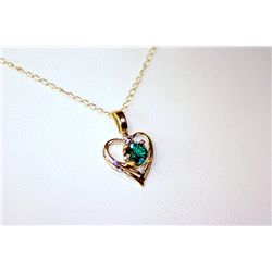 Lady's Fancy 14 kt Yellow Gold  Heart Shape  Emerald Neckalce