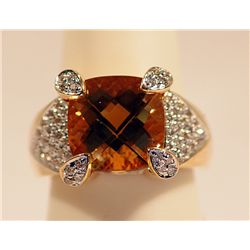 UNISEX 14K GOLD DIAMOND & GOLDEN CITRINE RING