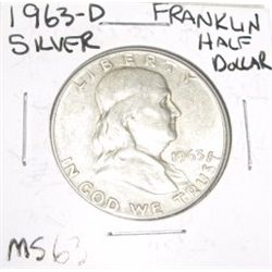 1963-D Franklin SILVER Half Dollar *RARE MS-63 HIGH GRADE - NICE COIN*!!