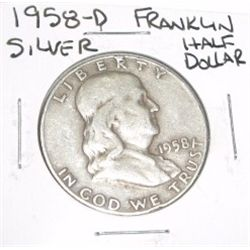 1958-D Franklin SILVER Half Dollar *PLEASE LOOK AT PICTURE TO DETERMINE GRADE - NICE COIN*!!
