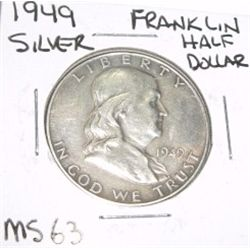 1949 Franklin SILVER Half Dollar *VERY RARE MS-63 HIGH GRADE - NICE COIN*!!
