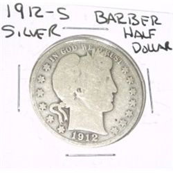 1912-S Barber SILVER Half Dollar *PLEASE LOOK AT PICTURE TO DETERMINE GRADE - NICE COIN*!!