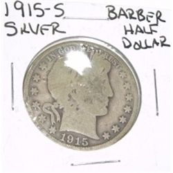 1915-S Barber SILVER Half Dollar *PLEASE LOOK AT PICTURE TO DETERMINE GRADE - NICE COIN*!!
