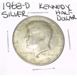 1968-D Kennedy SILVER Half Dollar *PLEASE LOOK AT PICTURE TO DETERMINE GRADE - NICE COIN*!!