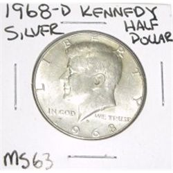 1968-D Kennedy SILVER Half Dollar *RARE MS-63 HIGH GRADE - NICE COIN*!!