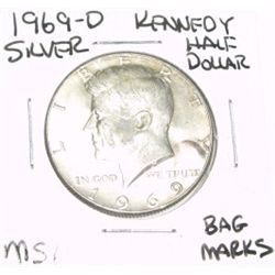 1969-D Kennedy SILVER Half Dollar *RARE MS-64 HIGH GRADE - NICE COIN*!!