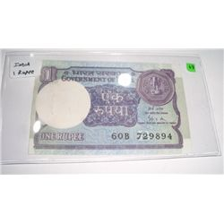 World Currency *INDIA* 1 Rupee *RARE UNC HIGH GRADE - NICE BILL*!!