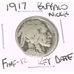 1917 Buffalo Nickel RARE KEY DATE  *FINE-12 GRADE*!!