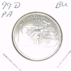 1999-D Washington STATE Quarter *PENNSLYVANIA BU-BRILLIANT UNC HIGH GRADE* NICE COIN!!