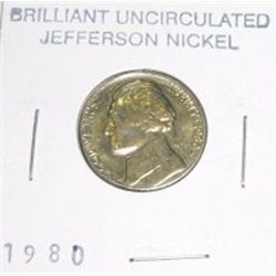 1980-P Jefferson Nickel *RARE BU BRILLIANT UNCIRCULATED GRADE*!!